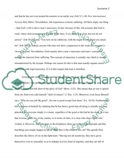 Why do good people suffer essay example