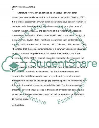 Quantitative Analysis essay example