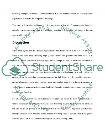 Adding Customer Value to Your Financial Prganisation for Competitive Advantage essay example