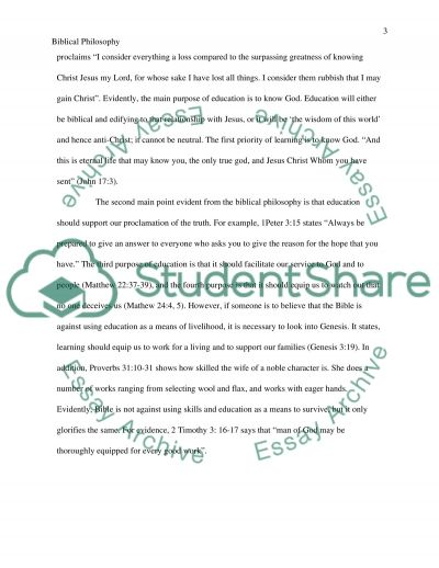 Biblical Philosophy of Education essay example