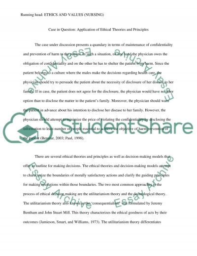 Ethics and Values essay example