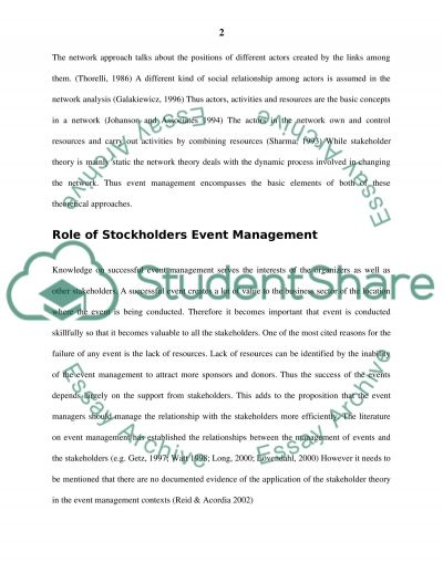 EVENTS MANAGEMENT Essay essay example