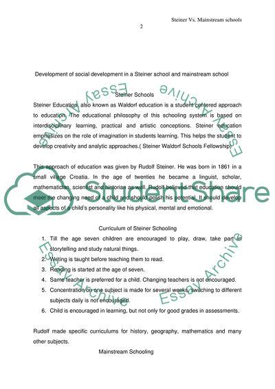 Development of social development in a Steiner school and mainstream school