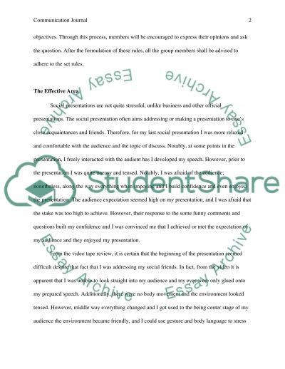 Communication journal essay example