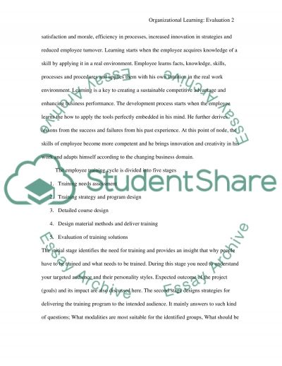 Organizational Learning: Evaluation essay example