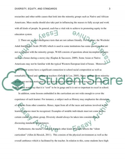 Diversity, Equity, and Standards essay example