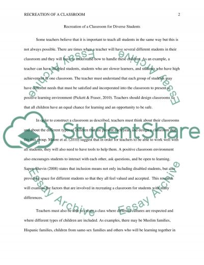 Recreate class room essay example