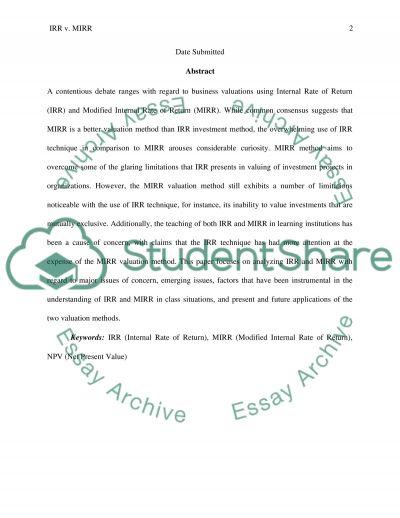 IRR v. MIRR Valuation Methods essay example