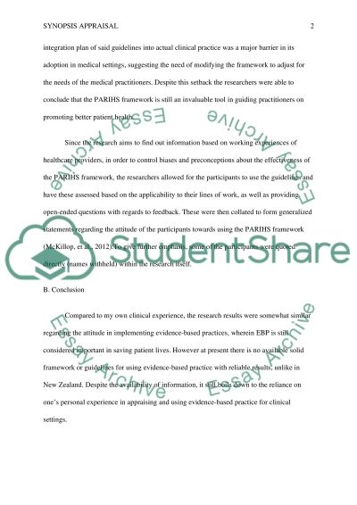 Completing a Synopsis Appraisal of a Qualitative Research Study