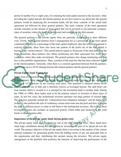 Private Equity Funds essay example