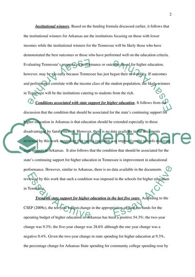 Two State Comparison Finance of Higher Education