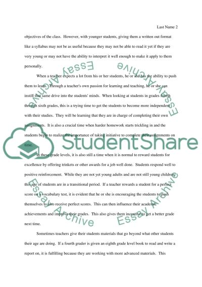 A Teachers Expectations of Students essay example