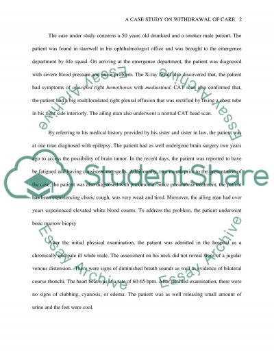 Withdrawal of Care essay example