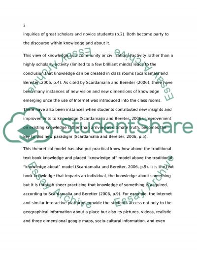 Knowledge Building: Theory, Pedagogy, and Technology essay example