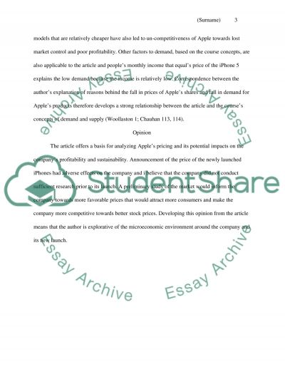 Microeconomics Article Summary Assignment Essay Example | Topics