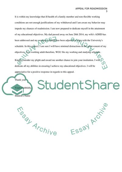 Academic Appeal Letter Examples from studentshare.org