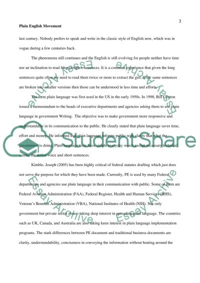 Plain English Movement essay example
