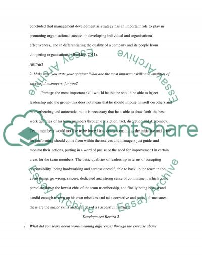 COURS WORK FOR INTERPERSONAL SKILLS MANAGEMENT essay example