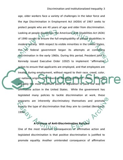 Equal opportunity laws and reverse discrimination essay example