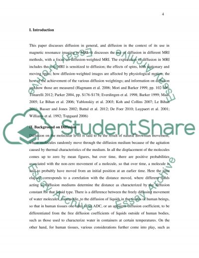 Diffusion weighted (DW) Magnetic Resonance Imaging MRI essay example