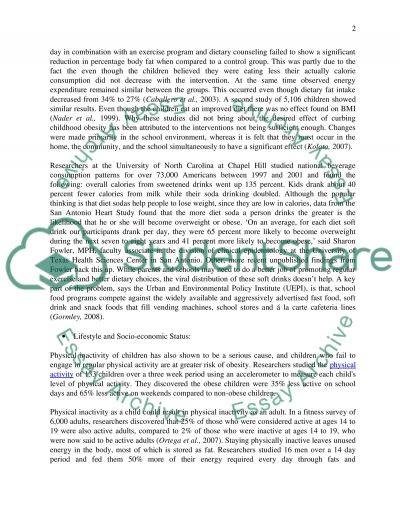 Childhood Obesity in Society Essay example
