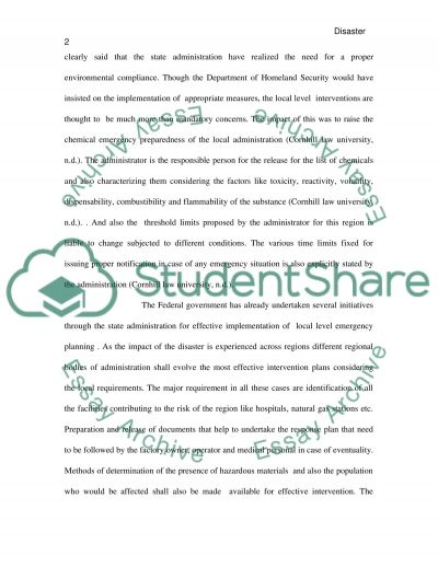 Principles of Disaster Response and Recovery essay example