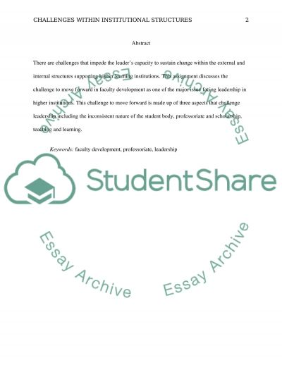 Identifying Challenges Within Institutional Structures essay example