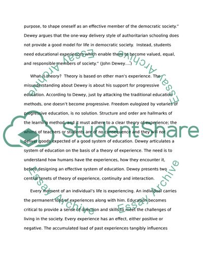 Please write an essay on John Deweys ideas of education
