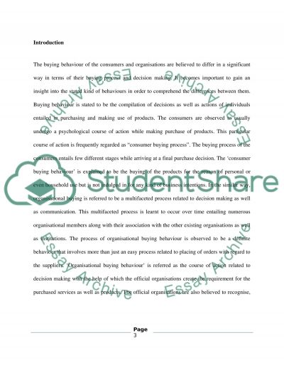 Consumer Buyer Behaviour and Organisational Buyer Behaviour essay example