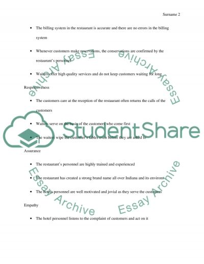 Dimensions of Service Quality essay example