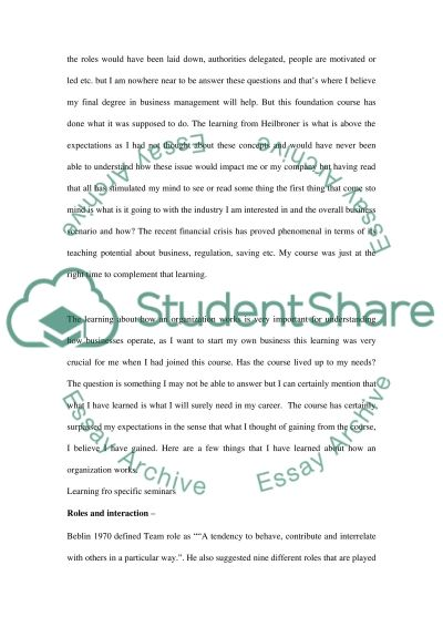 Business Reflective Essay