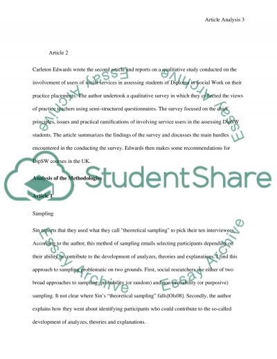 Critically analyse qualitative research articles