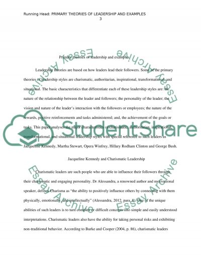 Primary theories of leadership and examples essay example