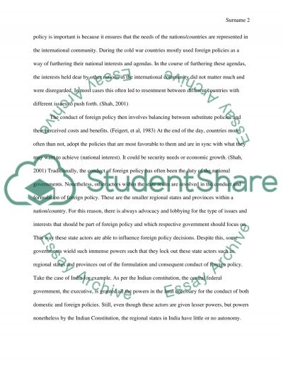 International relations - foreign policy essay example