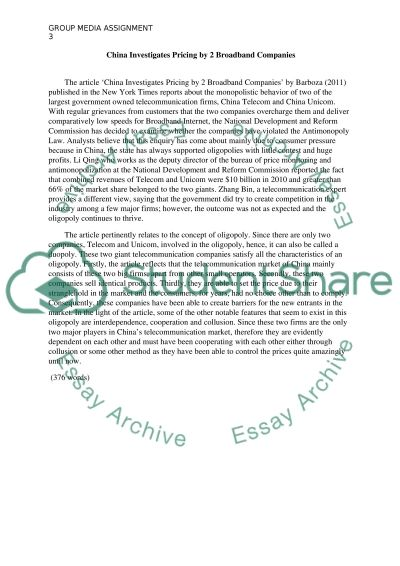Group Media Assignment essay example
