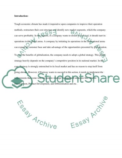 Business strategy in global environment essay example