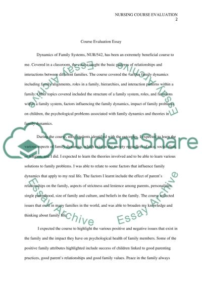 Course Evaluation Paper essay example