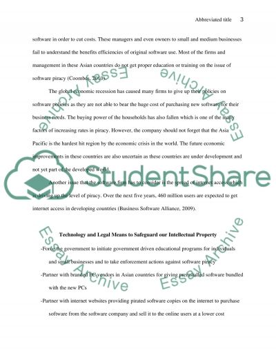 Global Information System - Software Piracy essay example