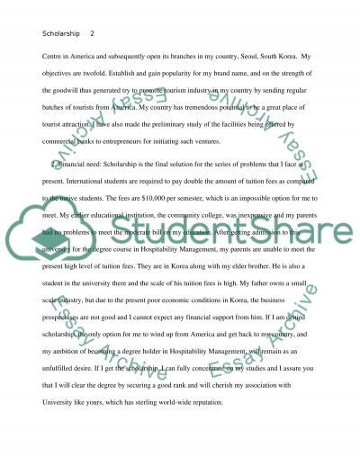 Scholarship Essay For Hospitality Management Major. Example