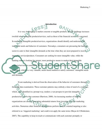 The promotion of intangible products with event marketing essay example