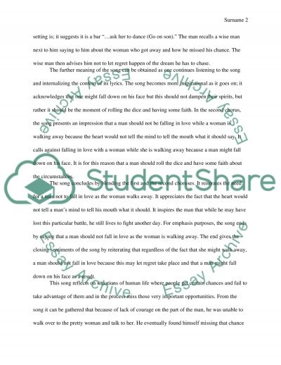 As Shes Walking Away essay example