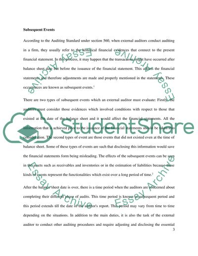 Auditing Essay Example | Topics and Well Written Essays