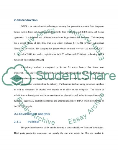 Strategic Position of IMAX essay example