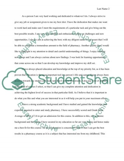 Admission Essay for Pharmacy essay example