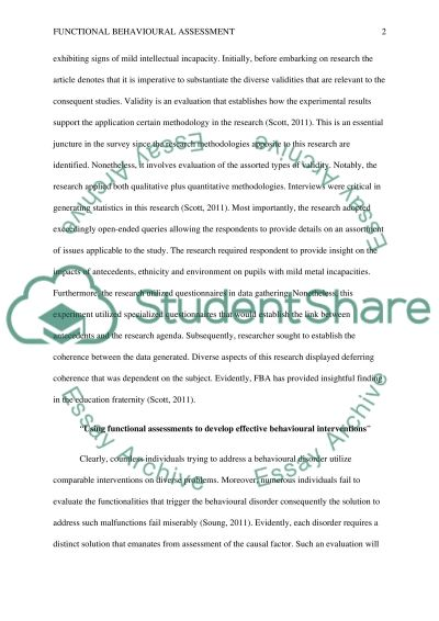The Validity of Functional Assessment with Students of Average Intellectual Ability essay example