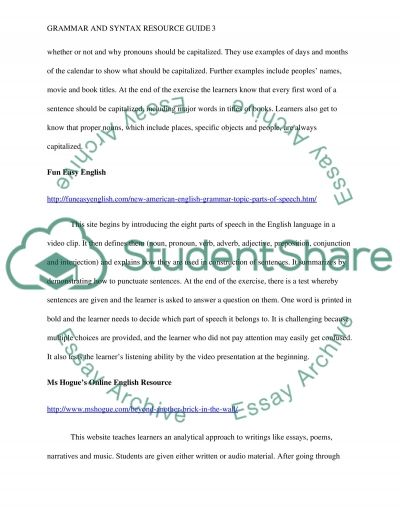 Grammar and Syntax Resource Guide essay example