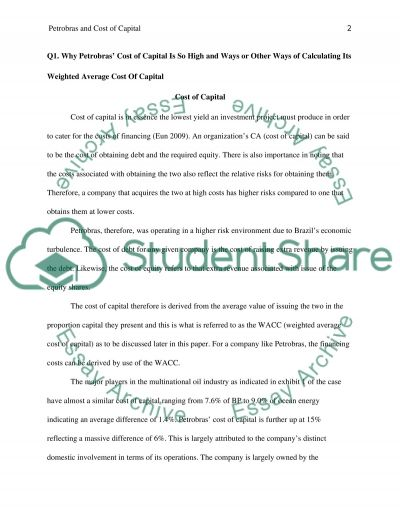 Petrobras and cost of capital Essay example