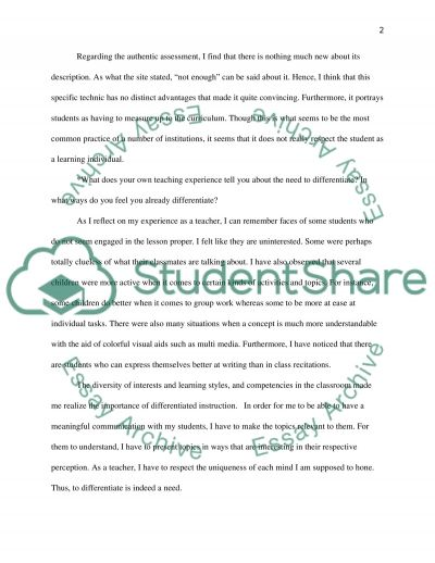Differentiated Instruction Paper essay example