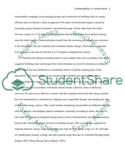 Sustainability in construction essay example