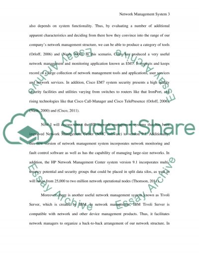 Network Management System essay example
